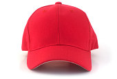 Isolated red baseball cap on a white background.