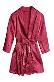 Red short satin bathrobe isolated over white