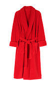 Red bathrobe isolated on white.