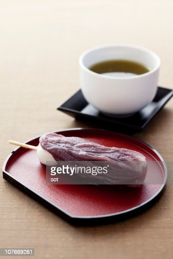 Red Bean Paste Dumpling With Green Tea Stock Photo | Getty ...