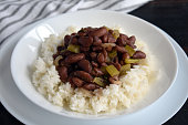 A dish of red beans served over rice
