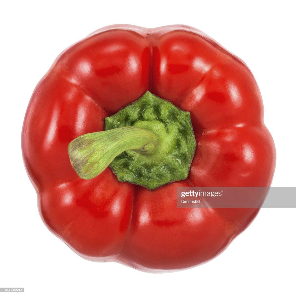 Red Bell Pepper on white