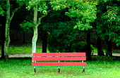 Red bench in park, Osaka prefecture, Japan