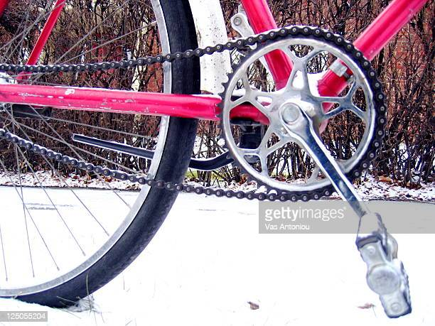 Red bicycle in snow