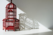 Red bird cage