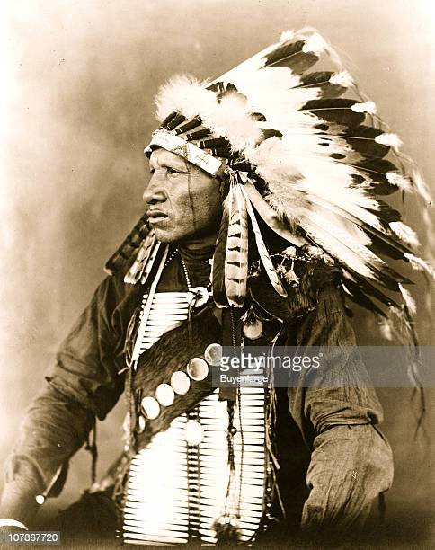 Red Bird Sioux Indian halflength portrait seated facing left wearing feathered headdress 1908