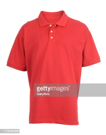 Red, blank, golf shirt front-isolated on white