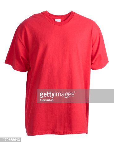 Red, blank, short sleeved t-shirt front-isolated on white