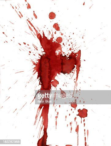 Red blood splatter stain on white background