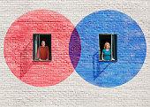 Red & blue circles around windows (2 people)