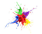 Red, blue, violet, yellow and green paint splash explosion, splashing against one another. isolated on white.