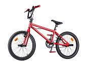 Red BMX bike on white background.
