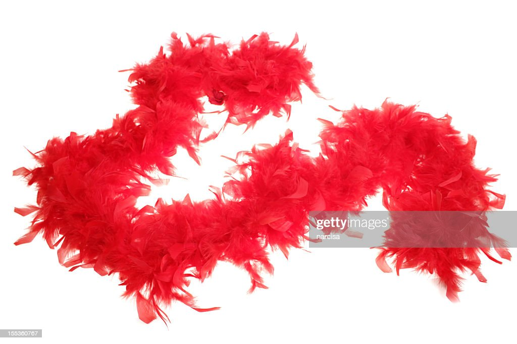 Red boa feathers on white