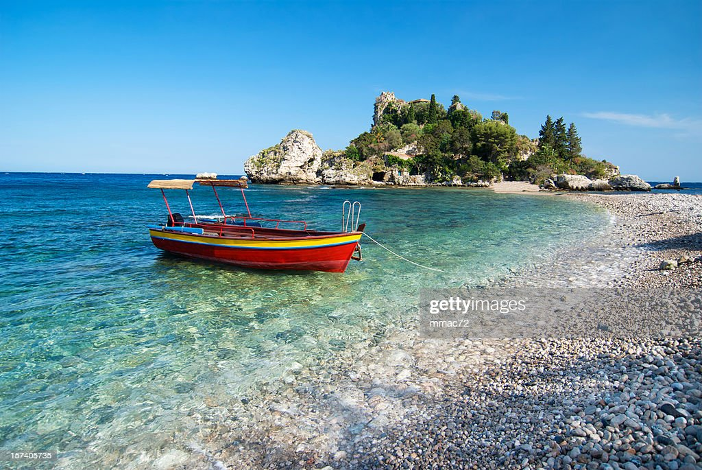 Red boat, Isola Bella, Sicily