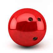 3d red bawling ball on white background