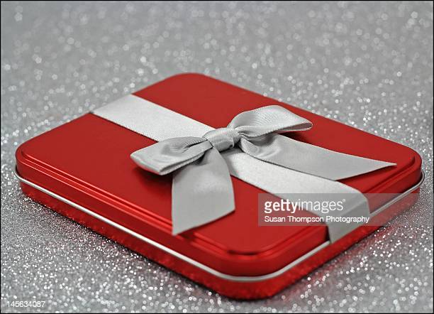 Red box with grey bow