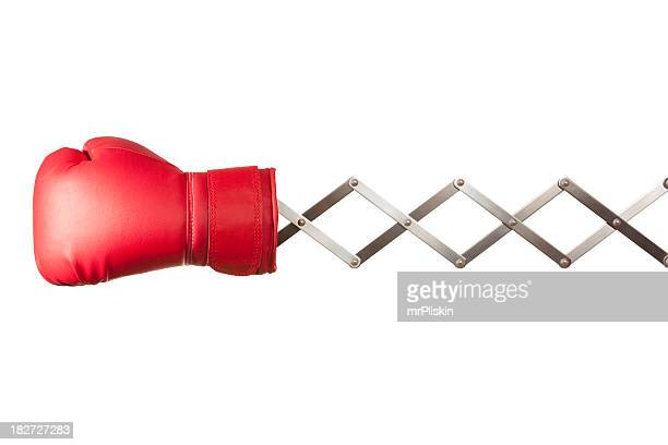 Red boxing glove concertina on white background