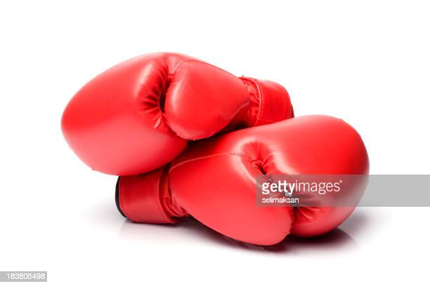 Red Boxing Gloves On White Background In Horizontal Composition