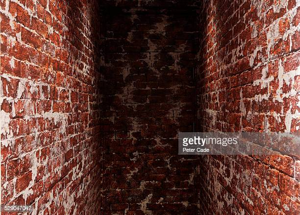 red brick dead end wall