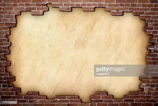 Red brick frame on paper