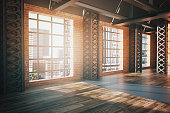 Side view of modern red brick interior with wooden floor and panoramic window with city view. Side view, 3D Rendering