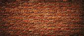 Old Brick wall panoramic view. Vintage brick texture