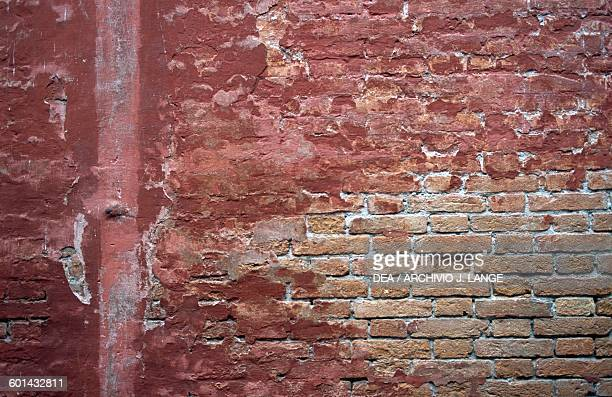 Red brick wall Venetian arsenal Veneto Italy