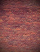 red bricks of an old historic wall with vintage effect