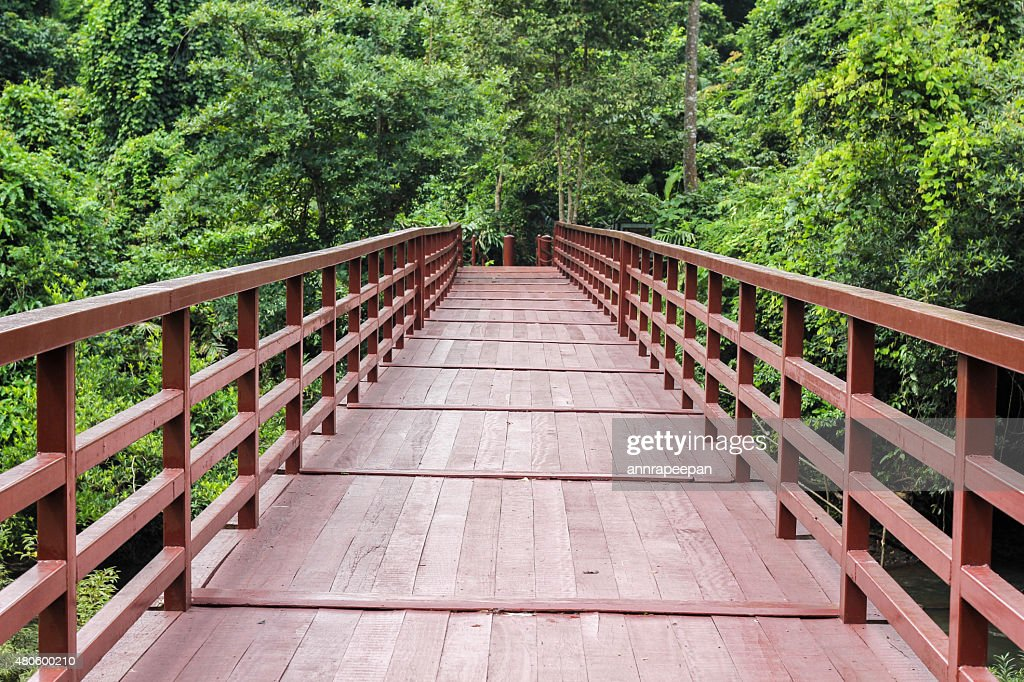 Red Bridge across the creek : Stock Photo