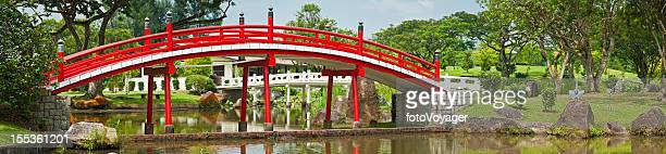 Red bridge in Japanese Garden Singapore