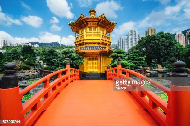 Red bridge in Nan Lian Garden, Diamond Hills, Hong Kong