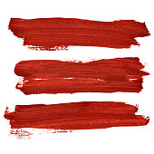 Red brush strokes isolated on the white background. Raster illustration