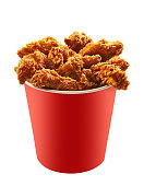 Red bucket of fried chicken on white background