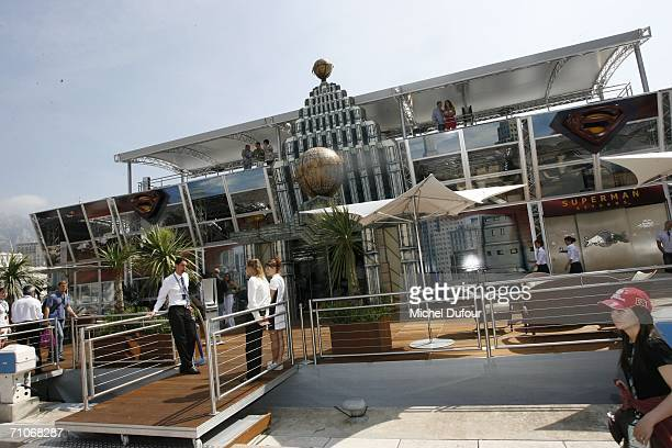 Red Bull and Superman Return lodge is seen at the paddocks during the Formula One race on May 27 2006 in Monaco