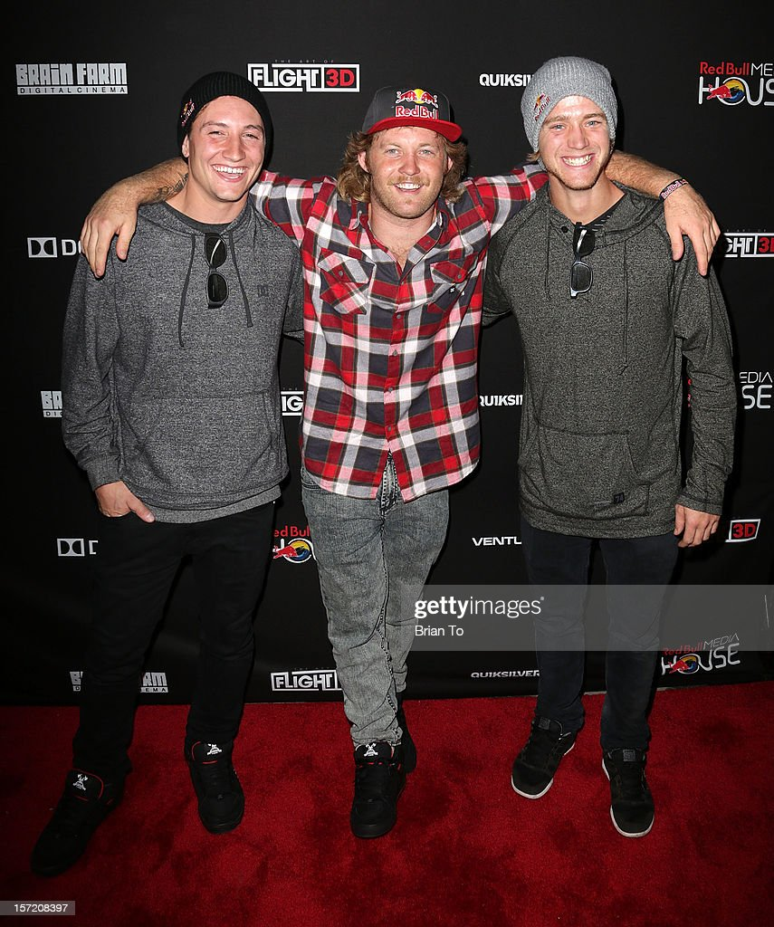 Red Bull athletes Anthony Napolitan, Mike ÒHuckerÓ Clark, and Drew Bezanson attend The Art of Flight 3D - Los Angeles screening at AMC Criterion 6 on November 29, 2012 in Santa Monica, California.
