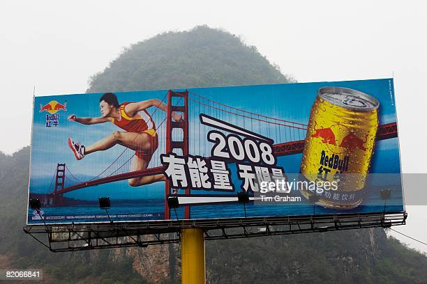 Red Bull billboard sponsor for 2008 Beijing Olympic Games near Guilin China