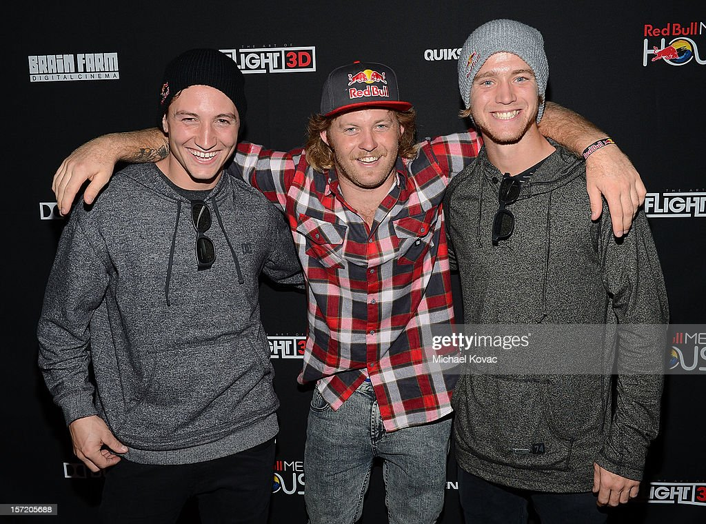 Red Bull BMX athletes Anthony Napolitan, Mike 'Hucker' Clark, and Drew Bezanson attend the Los Angeles Screening of The Art of Flight 3D at AMC Criterion 6 on November 29, 2012 in Santa Monica, California. Jacqueline Stabile