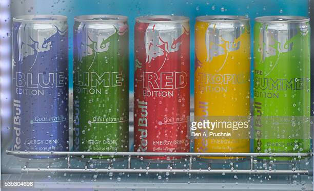 Red Bull cans on display at the Red Bull Racing Energy Station at Monte Carlo on May 29 2016 in Monaco