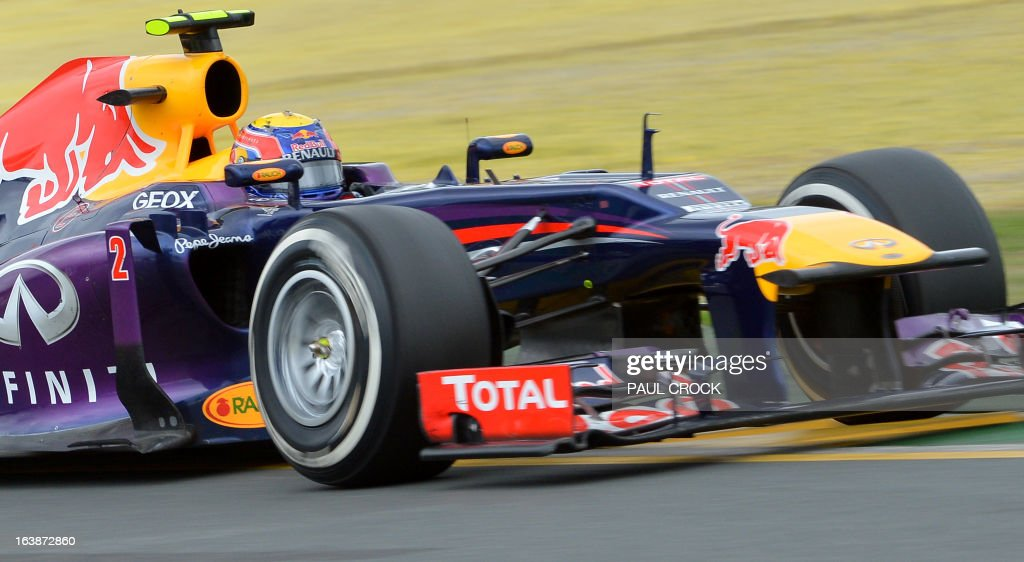 Red Bull driver Mark Webber of Australia powers through a corner during the Formula One Australian Grand Prix in Melbourne on March 17, 2013. IMAGE RESTRICTED TO EDITORIAL USE - STRICTLY NO COMMERCIAL USE AFP PHOTO / Paul CROCK