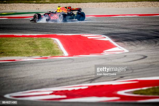 Red Bull driver Max Verstappen of Netherlands locks brakes in turn 15 during afternoon practice for the Formula 1 United States Grand Prix on October...