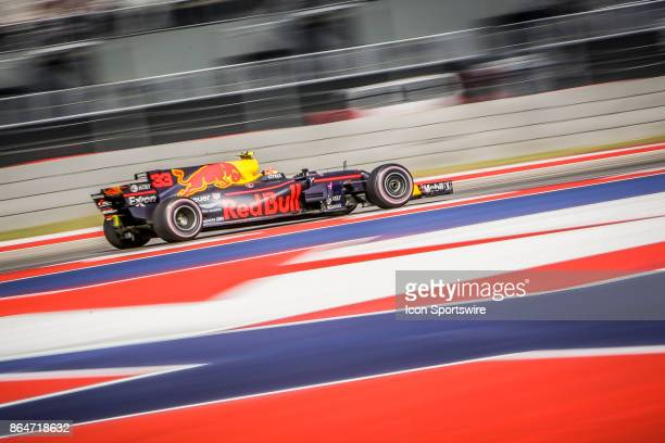 Red Bull driver Max Verstappen of Netherlands races through turn 4 during morning practice for the Formula 1 United States Grand Prix on October 21...