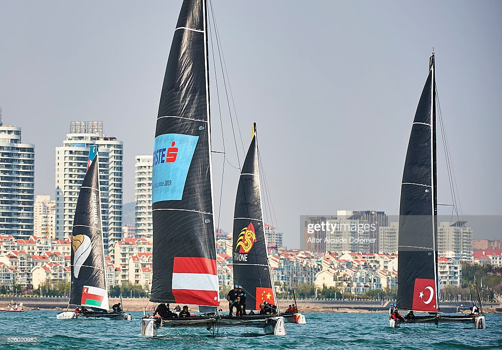 Red Bull Extreme Sailing Team foiling catamaran skippered <a gi-track='captionPersonalityLinkClicked' href=/galleries/search?phrase=Roman+Hagara&family=editorial&specificpeople=224928 ng-click='$event.stopPropagation()'>Roman Hagara</a> (AUT) racing during the Extreme Sailing Series Qingdao 2016 on April 29, 2016 in Qingdao, China.