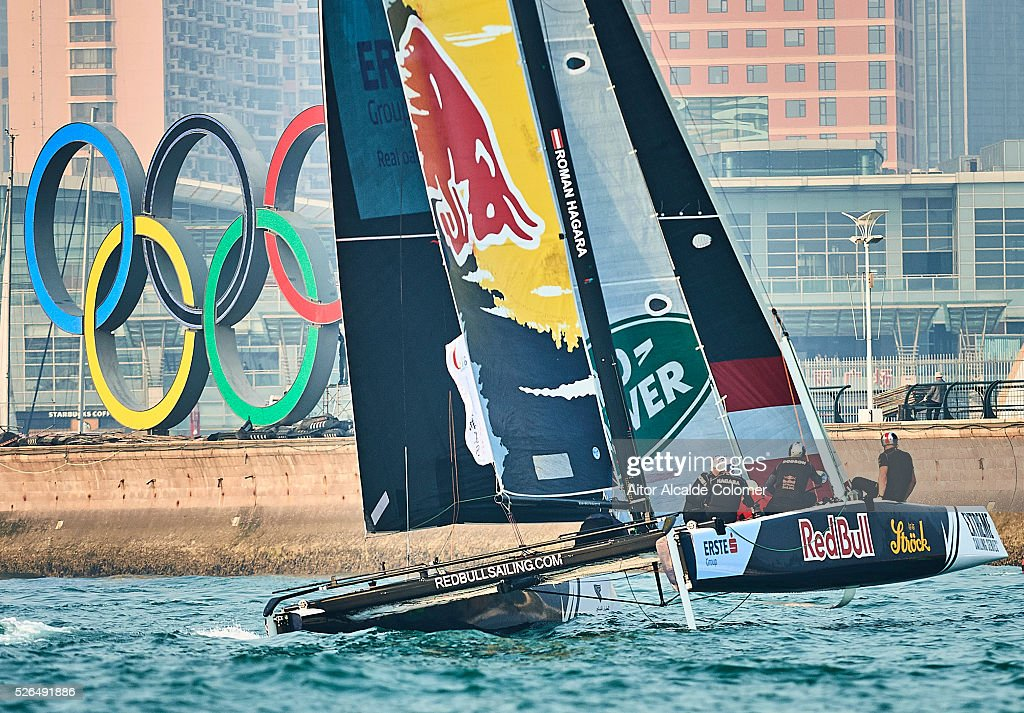 Red Bull Extreme Sailing Team skippered by Roman Hagara ( AUT) with team mates Hans-Peter Steinacher (AUT) Stewart Dodson (NZL) Adam Piggott (GBR) and Brad Ferrand (NZL) competes during the Extreme Sailing Series Qingdao 2016 on April 30, 2016 in Qingdao, China.