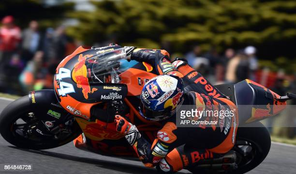 Red Bull KTM rider Miguel Oliveira of Portugal powers his machine during the Moto2class Grand Prix of the Australian MotoGP Grand Prix at Phillip...