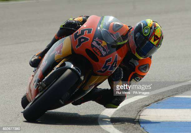 Red Bull KTM team rider Manuel Poggiali of San Marino during the 250cc race