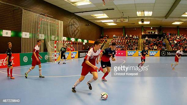 Red Bull Leipzig against JFB Schaumburg Prims of the DFB B Junior Indoor Cup at Sporthalle West on March 22 2015 in Gevelsberg Germany