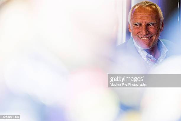 Red Bull owner Dietrich Mateschitz smiles on after the Spanish Formula One Grand Prix at Circuit de Catalunya on May 11 2014 in Montmelo Spain