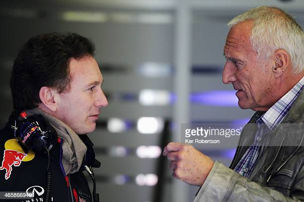 Red Bull owner Dietrich Mateschitz talks with Infiniti Red Bull Racing Team Principal Christian Horner during day three of Formula One Winter Testing...