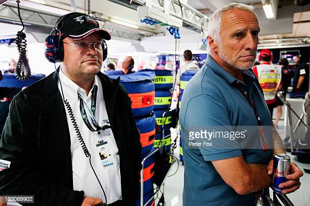 Red Bull Racing and Toro Rosso team owner Dietrich Mateschitz is seen in the Toro Rosso garage during qualifying for the German Grand Prix at...