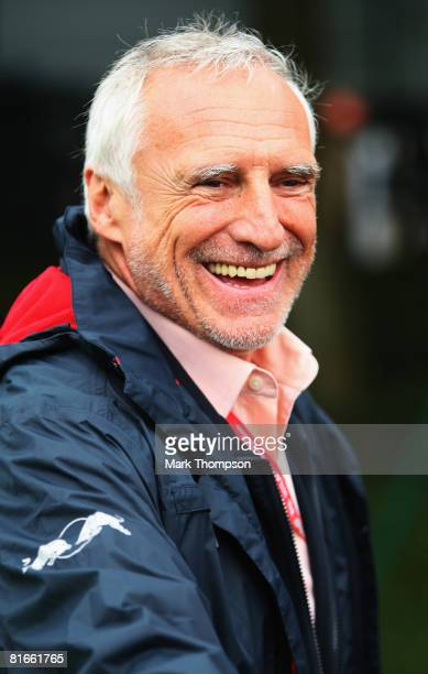 Red Bull Racing Chairman Dietrich Mateschitz is seen in the paddock before the French Formula One Grand Prix at the Circuit de Nevers MagnyCours on...